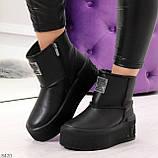 Ультра модные черные женские ботинки угги на молнии натуральная кожа 37-24 39-25см, фото 9