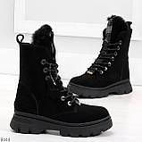 Дизайнерские высокие черные женские зимние ботинки из натуральной замши 36-23,5см, фото 2