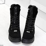 Дизайнерские высокие черные женские зимние ботинки из натуральной замши 36-23,5см, фото 3