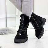 Дизайнерские высокие черные женские зимние ботинки из натуральной замши 36-23,5см, фото 4