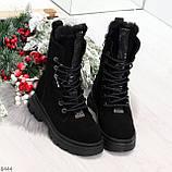 Дизайнерские высокие черные женские зимние ботинки из натуральной замши 36-23,5см, фото 5