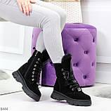 Дизайнерские высокие черные женские зимние ботинки из натуральной замши 36-23,5см, фото 6