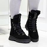 Дизайнерские высокие черные женские зимние ботинки из натуральной замши 36-23,5см, фото 7