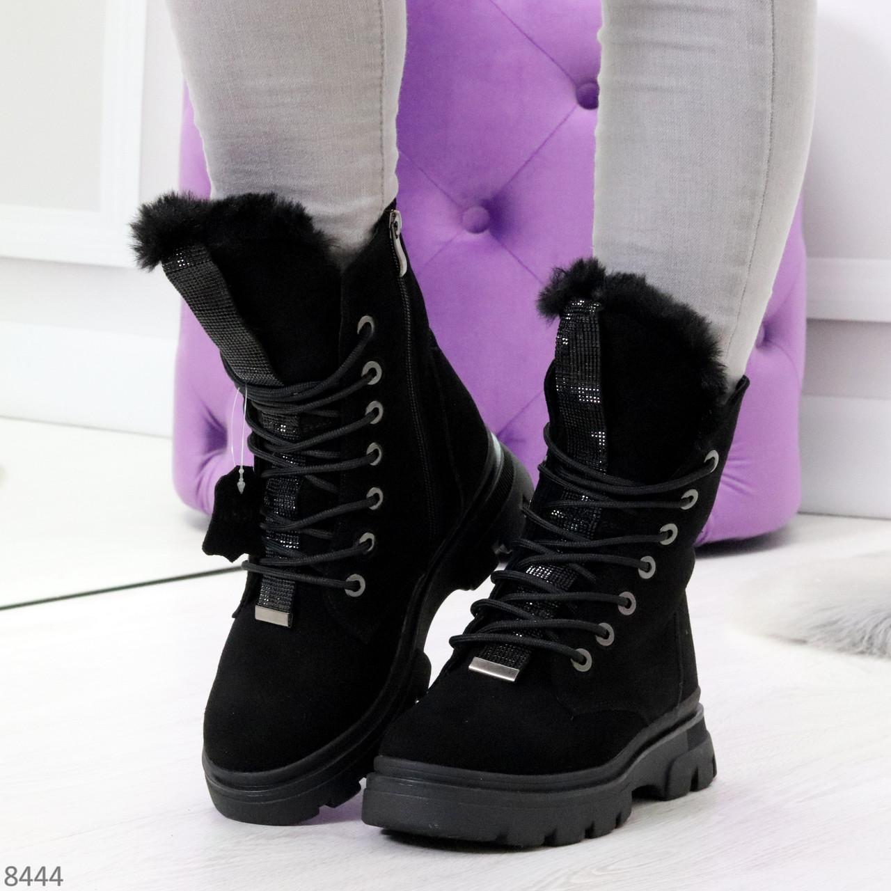 Дизайнерские высокие черные женские зимние ботинки из натуральной замши 36-23,5см