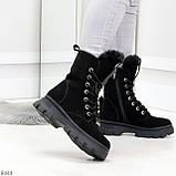 Дизайнерские высокие черные женские зимние ботинки из натуральной замши 36-23,5см, фото 8