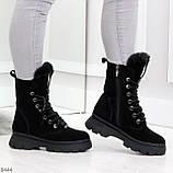 Дизайнерские высокие черные женские зимние ботинки из натуральной замши 36-23,5см, фото 9