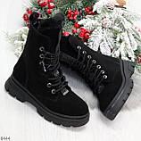 Дизайнерские высокие черные женские зимние ботинки из натуральной замши 36-23,5см, фото 10