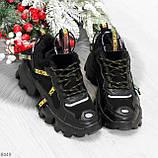Дизайнерские ультра модные черные женские зимние кроссовки сникерсы, фото 2
