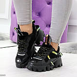 Дизайнерские ультра модные черные женские зимние кроссовки сникерсы, фото 4