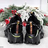 Дизайнерские ультра модные черные женские зимние кроссовки сникерсы, фото 5