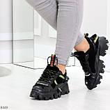 Дизайнерские ультра модные черные женские зимние кроссовки сникерсы, фото 6