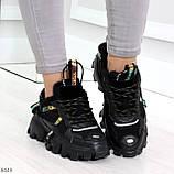 Дизайнерские ультра модные черные женские зимние кроссовки сникерсы, фото 7