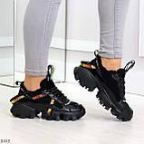 Дизайнерские ультра модные черные женские зимние кроссовки сникерсы, фото 9