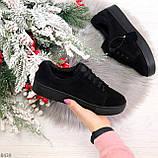 Черные замшевые женские модельные кеды из натуральной замши, фото 7