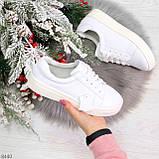 Белые кожаные женские модельные кеды из натуральной кожи, фото 9