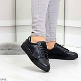 Черные кожаные женские модельные кеды из натуральной кожи, фото 4