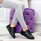 Черные кожаные женские модельные кеды из натуральной кожи, фото 6