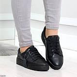 Черные кожаные женские модельные кеды из натуральной кожи, фото 7