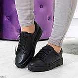 Черные кожаные женские модельные кеды из натуральной кожи, фото 8