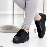 Черные кожаные женские модельные кеды из натуральной кожи, фото 9