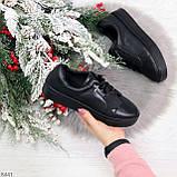 Черные кожаные женские модельные кеды из натуральной кожи, фото 10