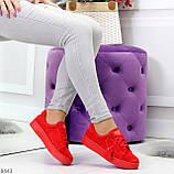 Яркие красные замшевые женские модельные кеды из натуральной замши, фото 2