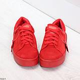 Яркие красные замшевые женские модельные кеды из натуральной замши, фото 4