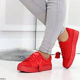 Яркие красные замшевые женские модельные кеды из натуральной замши, фото 7