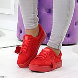 Яркие красные замшевые женские модельные кеды из натуральной замши, фото 8