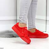 Яркие красные замшевые женские модельные кеды из натуральной замши, фото 9