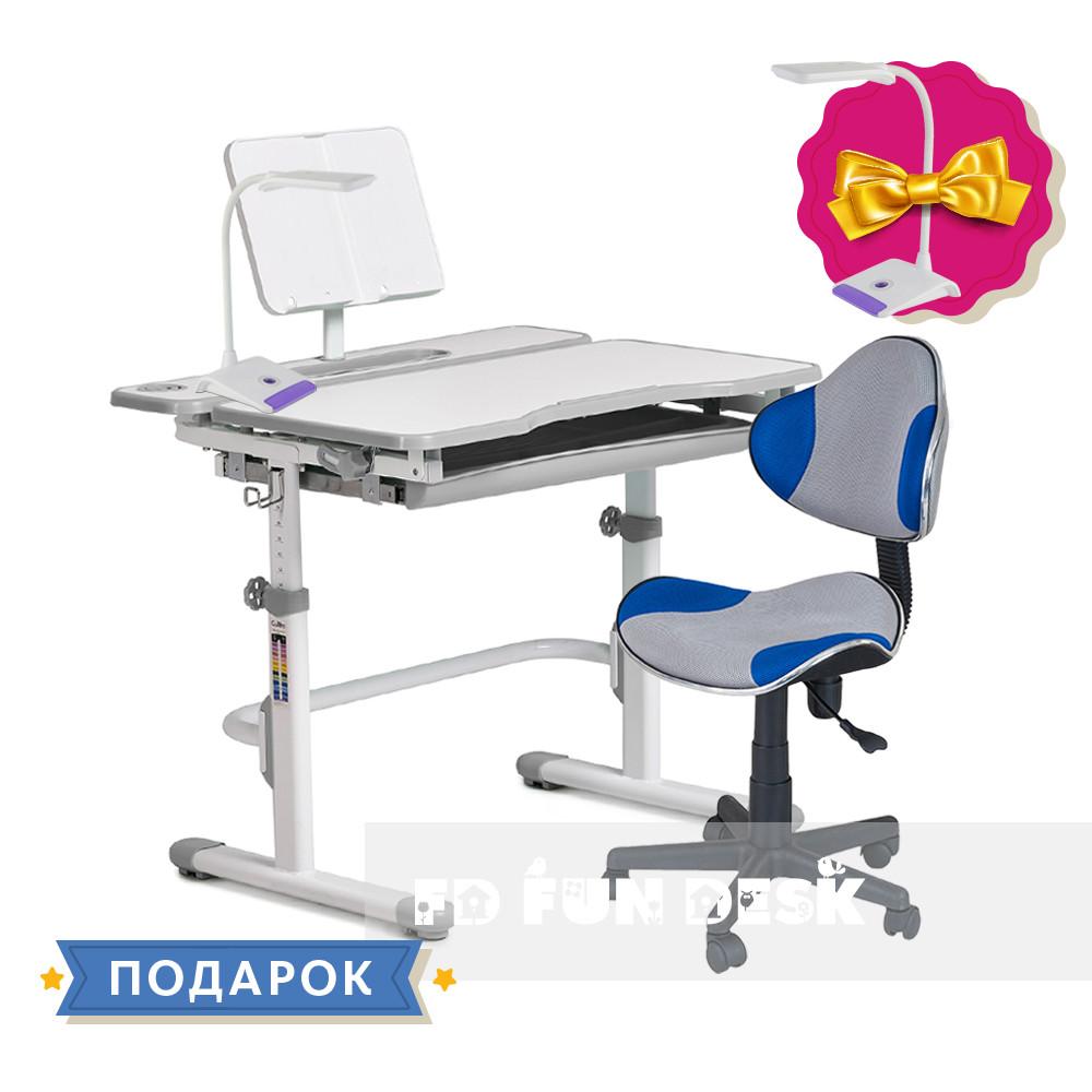 Комплект для школьника растущая парта Cubby Fressia Grey + детский стул FunDesk LST3 Blue-Grey