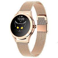 Умные смарт часы King Wear KW10 Metal с защитой от воды (Розово-золотой)