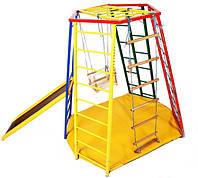 Детский спортивный Комплекс-уголок для дома и улицы: деревянные качели и кольца, горка 154х154х145см 62169, фото 1