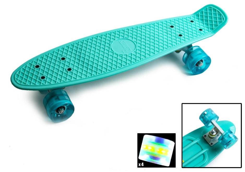 """Пенни борд скейт со светящимися колесами 22"""" бирюзовый"""