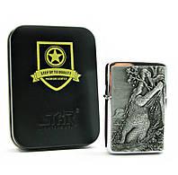 Зажигалка бензиновая, бронзовая, в подарочной упаковке (T01-7009d )