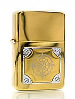 Зажигалка бензиновая, бронзовая, в подарочной упаковке (T01-7403a)