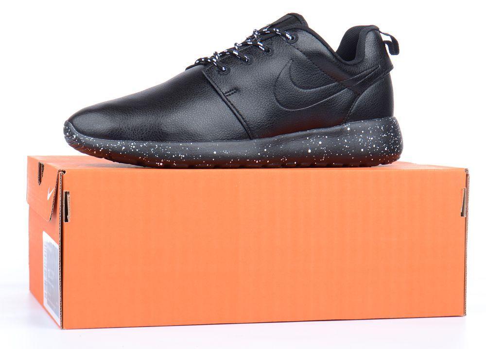 Кроссовки мужские кожаные Nike Roshe Black, реплика. Чёрные кроссовки, кеды. Слипоны. Ботинки