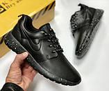 Кроссовки мужские кожаные Nike Roshe Black, реплика. Чёрные кроссовки, кеды. Слипоны. Ботинки, фото 5