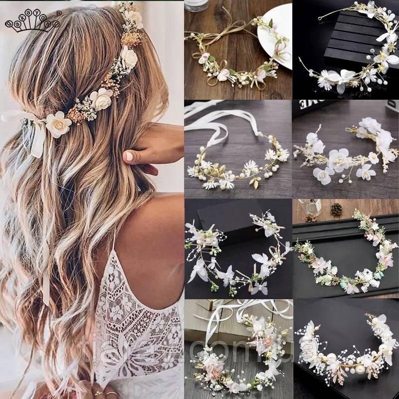 Свадебный венок на голову, свадебный веночек для волос