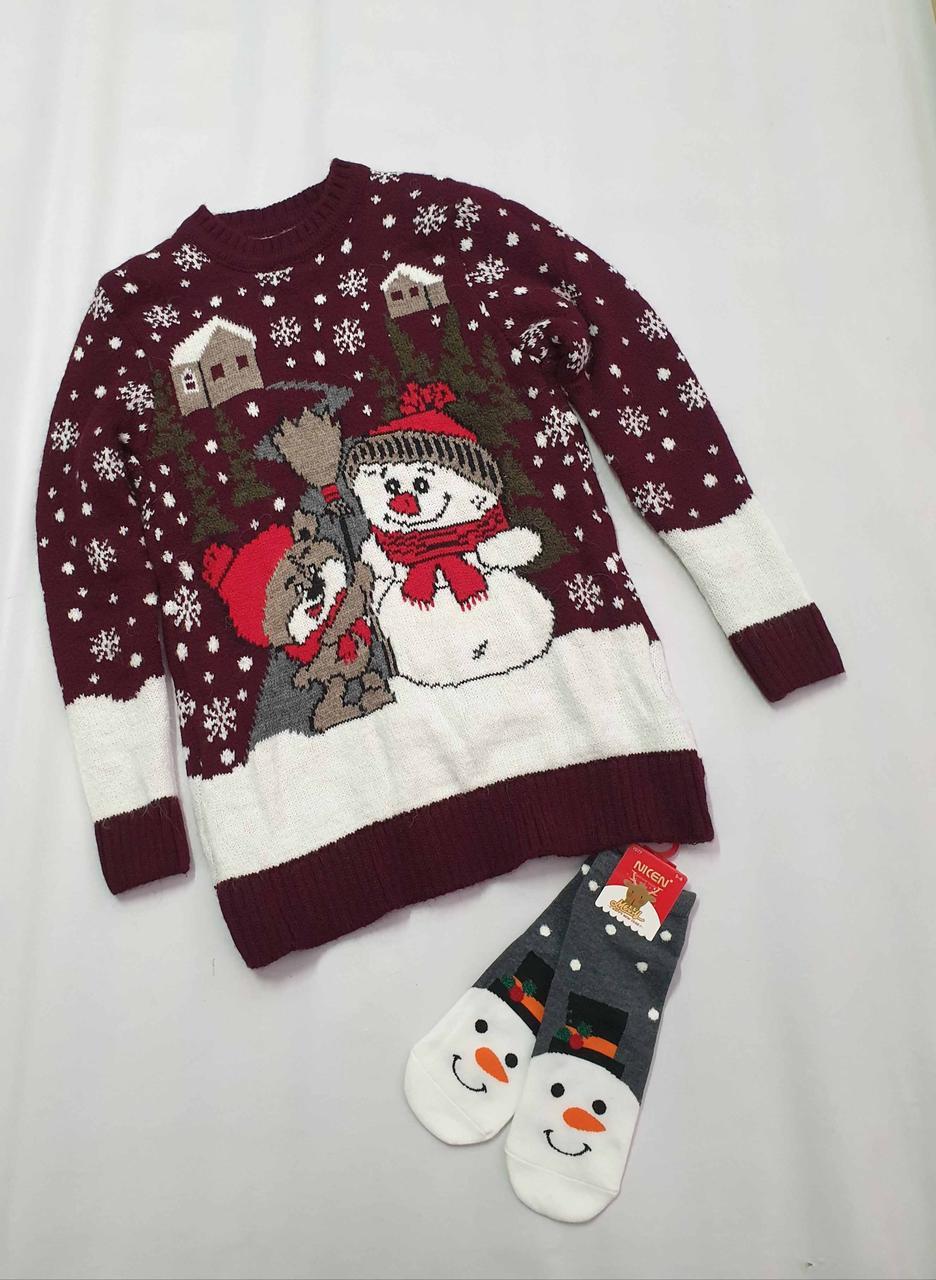 Вязаный свитер детский с оленями на мальчиков Снеговики