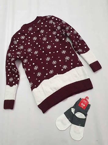 Вязаный свитер детский с оленями на мальчиков Снеговики, фото 2
