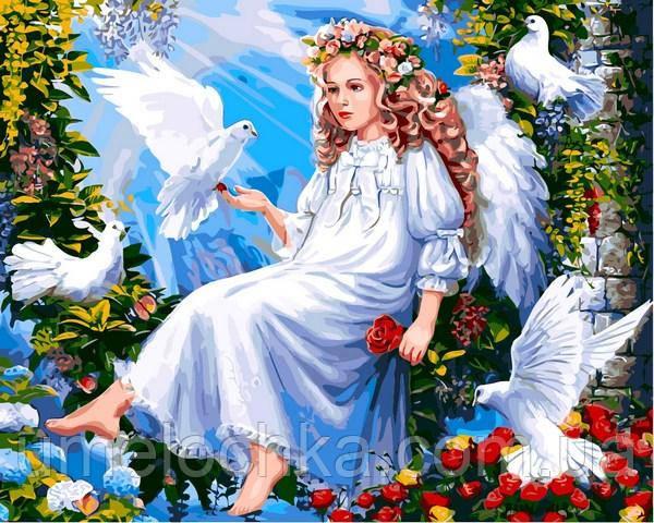 Раскраска по номерам Babylon Ангел и голуби (VP1291) 40 х 50 см