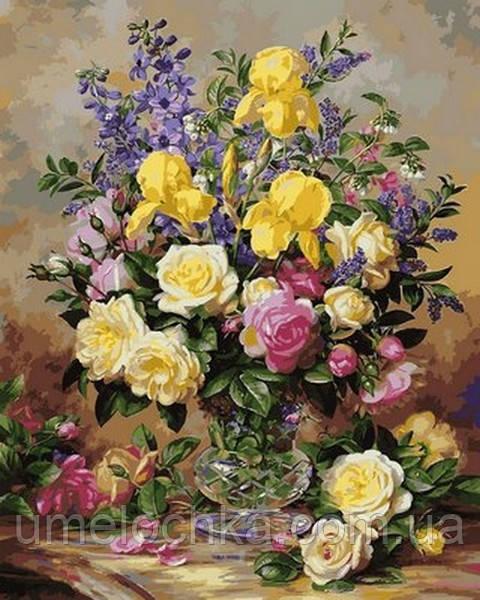 Картина за номерами Babylon Жовті іриси і троянди (VPS1051) 50 х 65 см