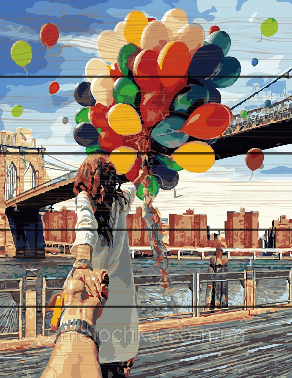 Картина по номерам на дереве  Следуй за мной Бруклинский мост (RA-GXT4371) 40 х 50 см