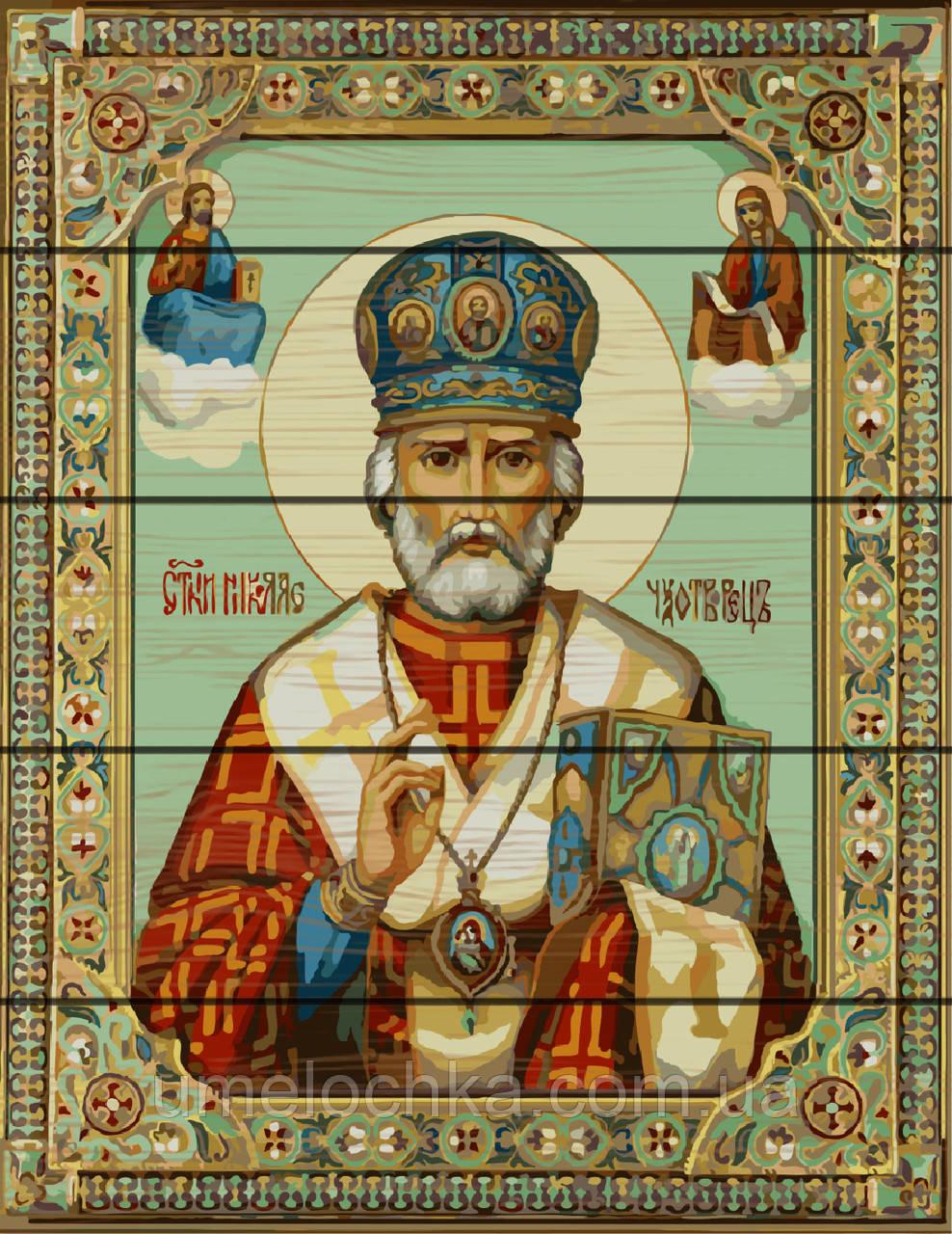 Картина по номерам на дереве  Икона Николая Чудотворца (RA-GXT9790) 40 х 50 см