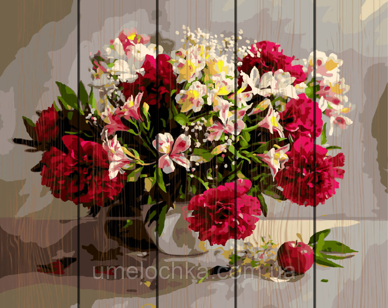 Картина по номерам на дереве  Цветочное великолепие (RA-GXT9794) 40 х 50 см
