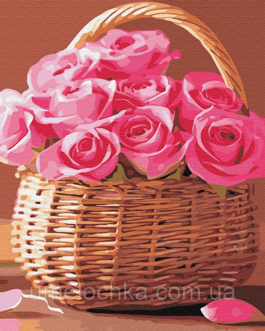 Картина по номерам BrushMe Корзинка розовых роз (BK-GX34808) 40 х 50 см (Без коробки)