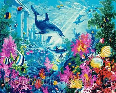 Картины по номерам Дельфины и коралловый риф (MR-Q2111) 40 х 50 см Mariposa