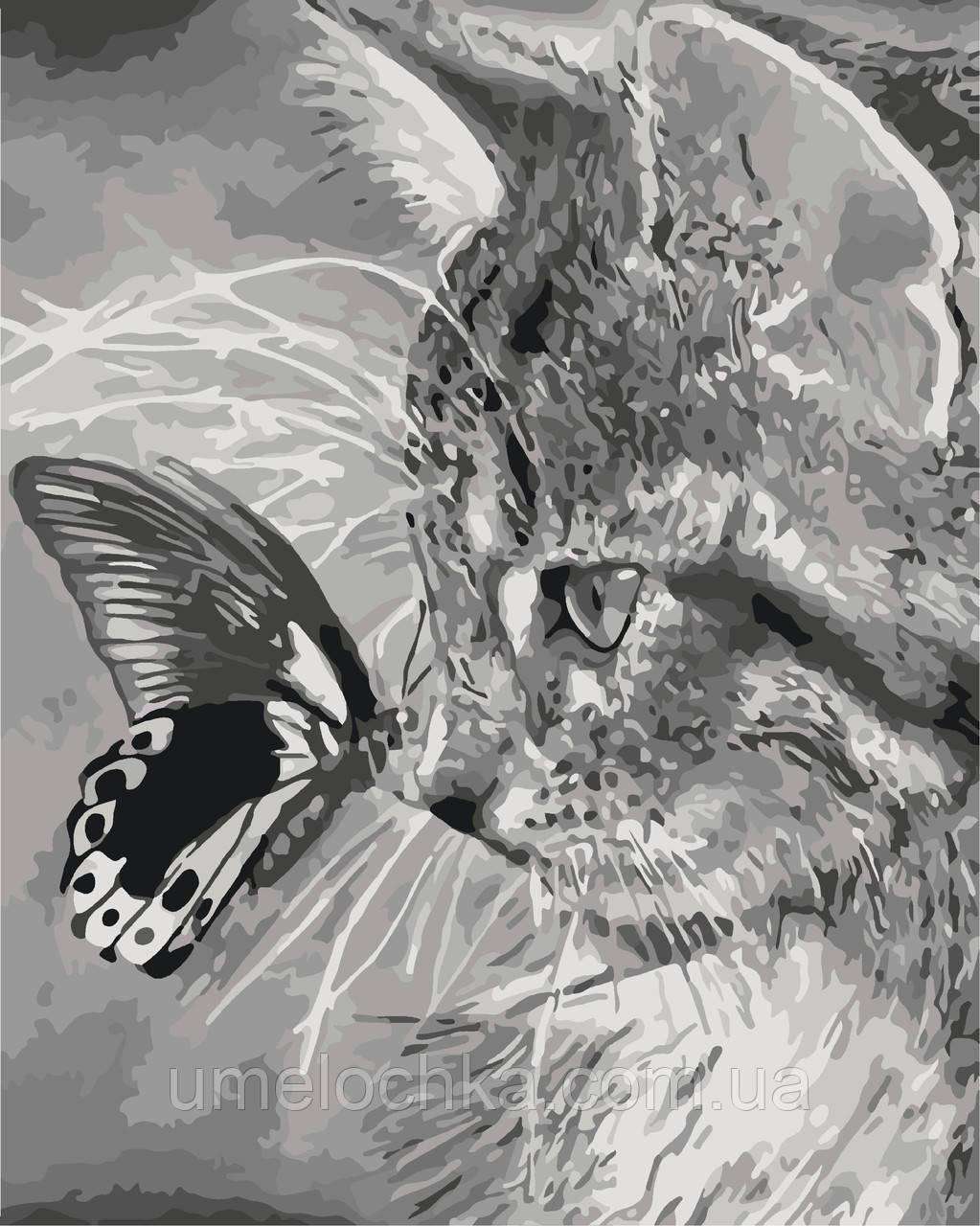 Рисование по номерам Котенок и бабочка (KH2499) 40 х 50 см