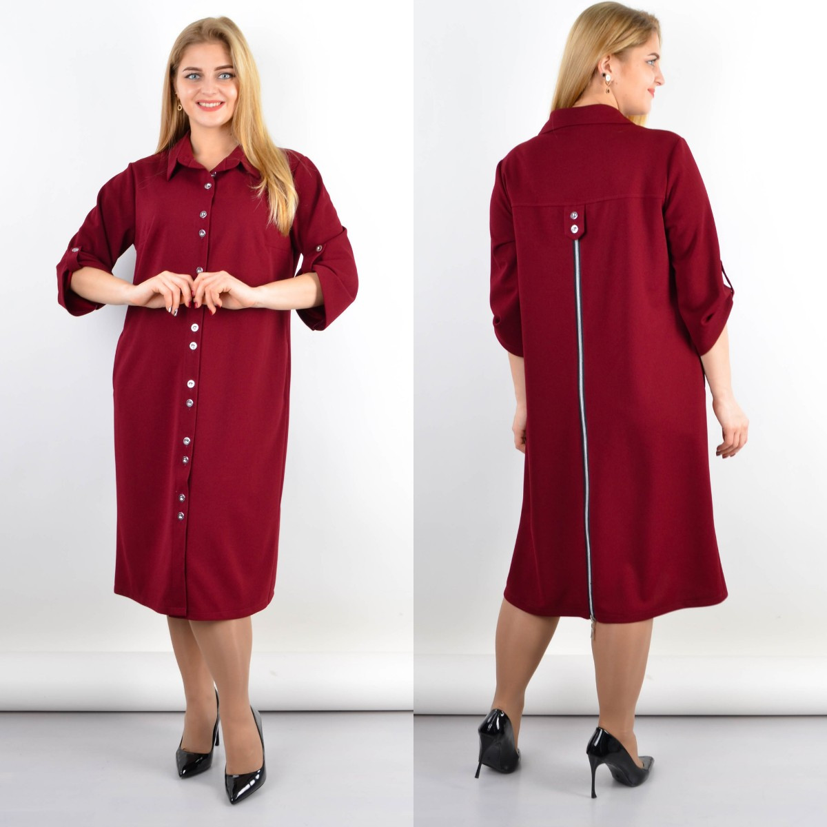 Стильное платье-рубашка больших размеров